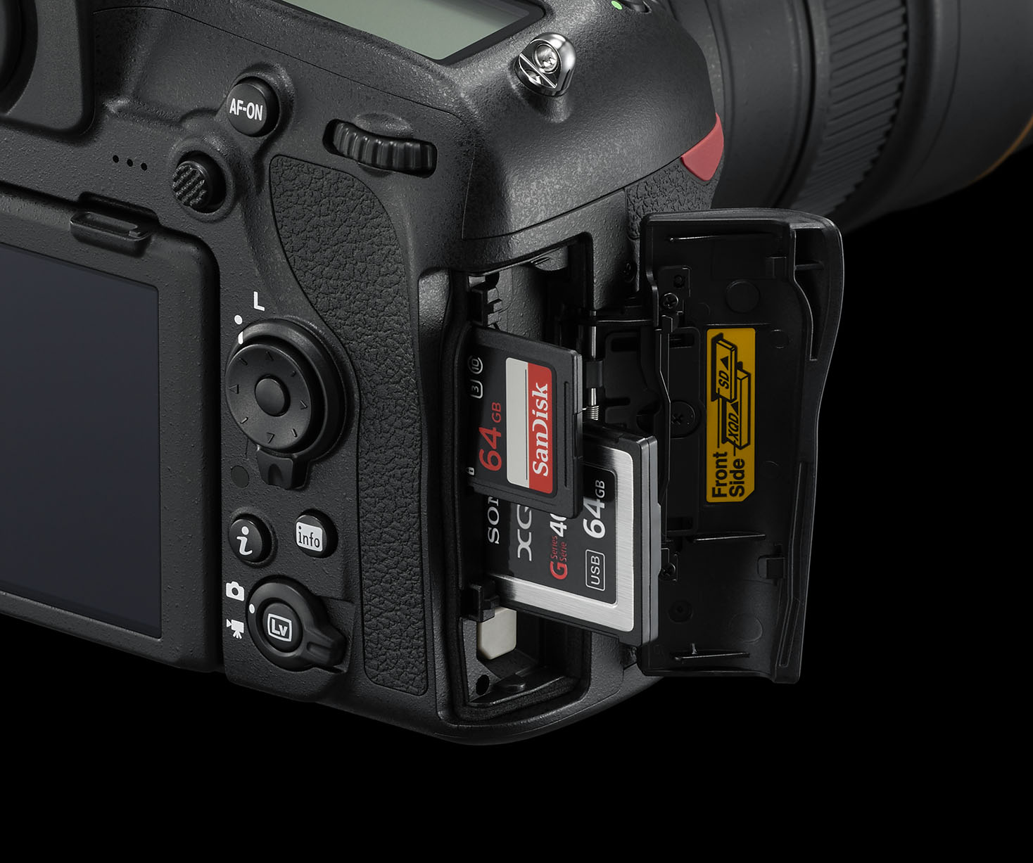 Nikon D850 with dual card UHS-II SD card slot and XQD card slot