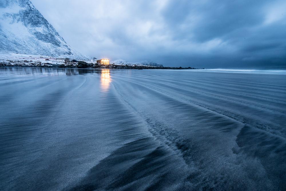 Skagsanden beach in blue light. Nikon D750, 15mm f/2.8, 10 sec, f/16, ISO 500