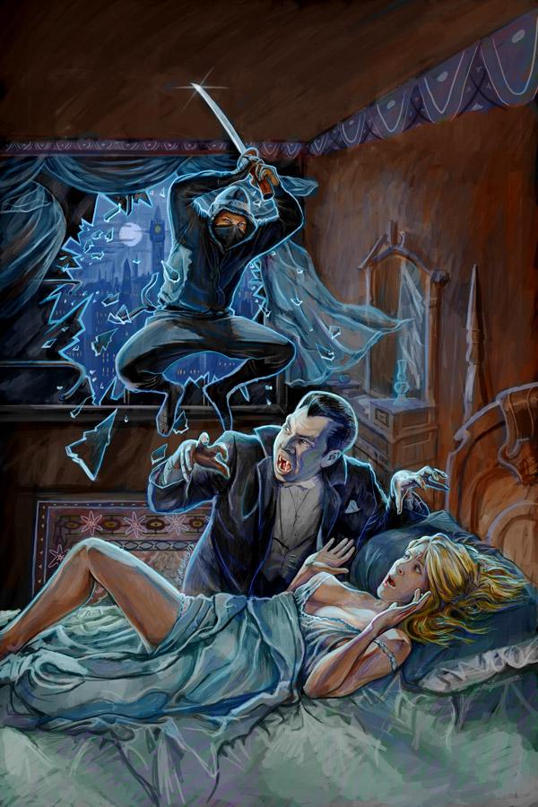 Dracula vs. Ninjas | Neon Harbor | Digital Paint