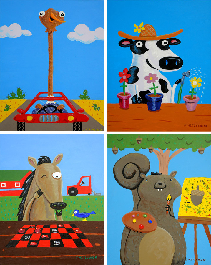 Texas Pediatric Hospital Animal Paintings | Acrylic on Board