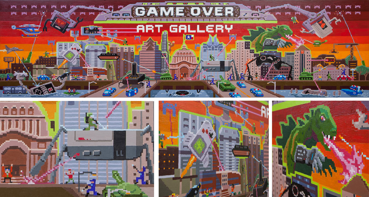 8 Bit Invasion | Game Over Videogames Art Gallery Mural | Acrylic on Board