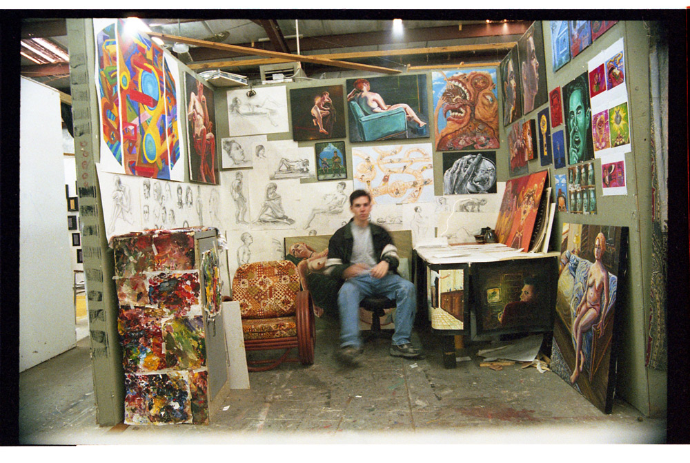 Me in my studio at the BFA Warehouse, FSU, Tallahassee, FL. (Pictured above during winter. Abandoned by most students in the summer).