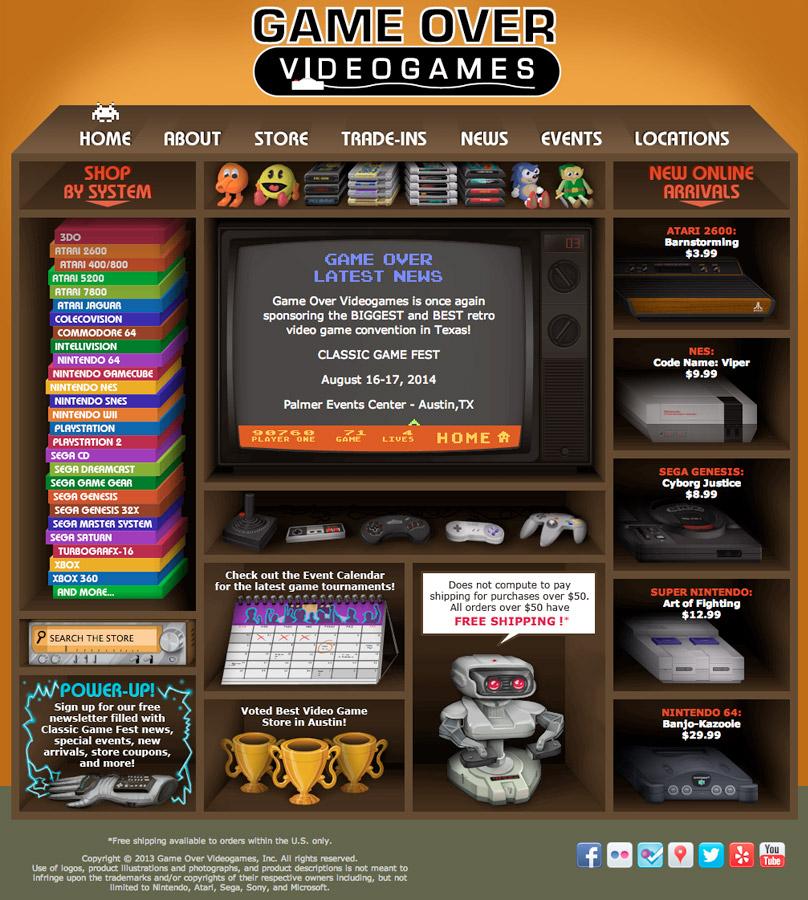 Game Over Videogames 2011 Website | Photoshop
