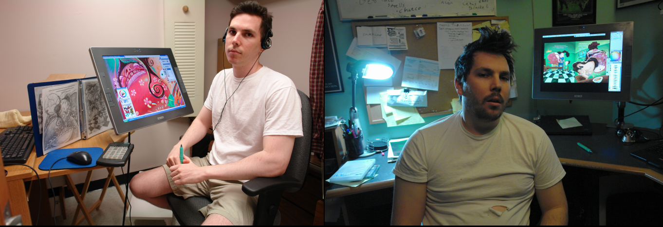 The ultimate behind the scenes photo comparison. LEFT: Me one year into making Clarence. RIGHT: Me the day I finished Clarence, six years later.