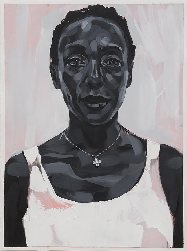 "Rebecca Campbell,  Mpambo  , 2015, acrylic on paper, 30"" x 22"""