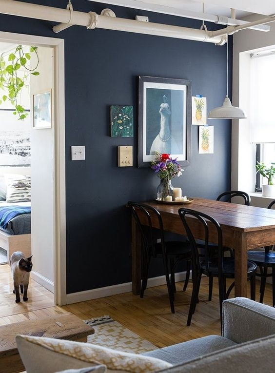 NAVY // - Dark blue represents knowledge, power, integrity, and seriousness. Navy is a fun way of adding drama and sophistication to any space whether it's on a wall or a piece of furniture.Color suggestion // SW9178 In The Navy (pictured)