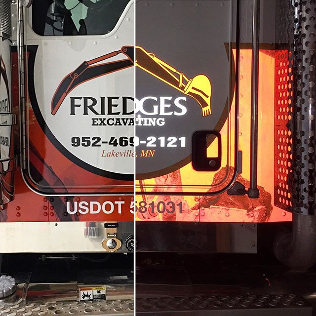 Day look and night look side by side! We sure do love using @3mfilms #IJ680 reflective wrap film in our shop! #WeWrapEverything #3M #680 #Reflective #GetNoticed #Kenworth #TruckWrap