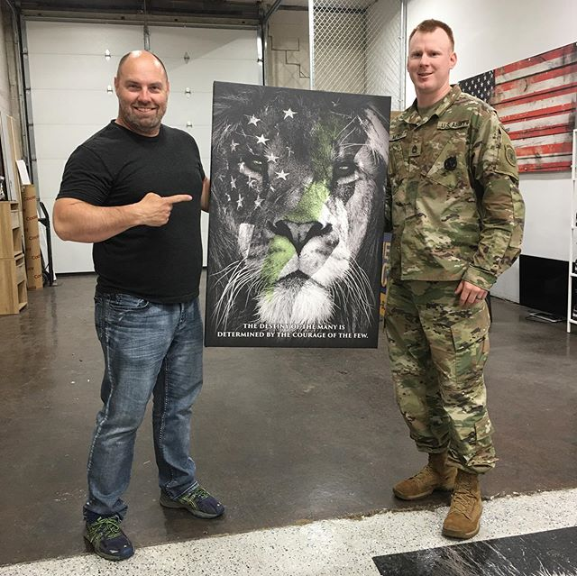 We are so proud to present @meyer_dan this custom canvas print that we made for all of the time and hard work he has put in running @hometownherooutdoors in addition to serving this great country in the US Army! His leadership, dedication and support for veterans and law-enforcement is unmatched! While he is moving onto his next duty station, he leaves behind a group of people that appreciate him and will always have his back! Cheers my friend! #HometownHeroOutdoors #Respect #Army #CanvasPrint #BornLeader
