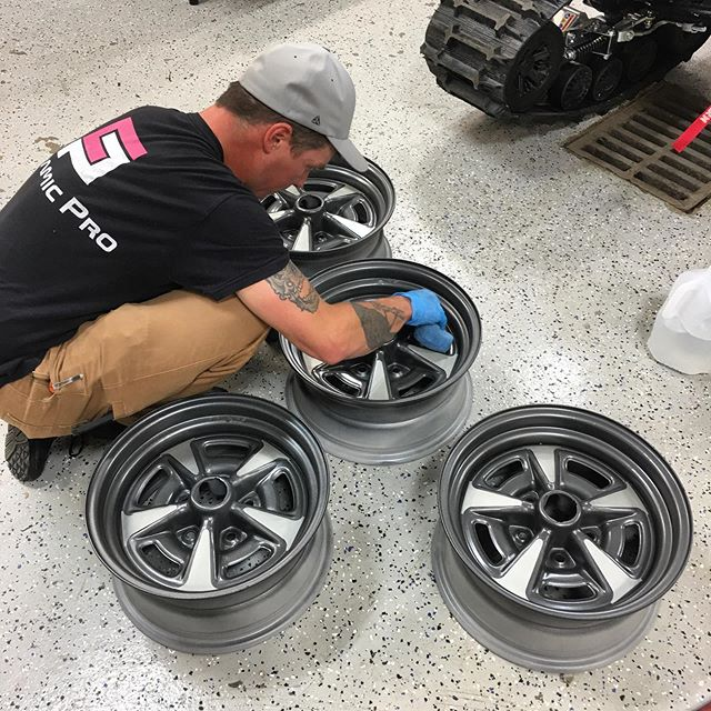 Ceramic coating OEM steel wheels for our friend the Trans Am king! It's yet another service we proudly provide! #CeramicPro #CeramicCoatings #ProtectYourRide #TransAm #SteelWheels #WeWrapEverything