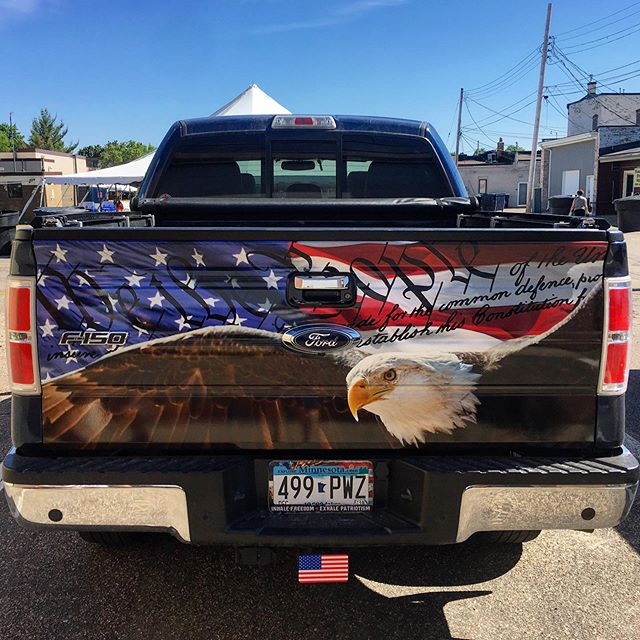 We are always for proud to do work for clients like Art! People that love America as much as we do! #TailgateWrap #WeWrapEverything #America #Constitution #CrushTheEnemy #RedWhiteAndBlue #NeverOutofStyle #WorkWithTheBest #OldGlory #3M