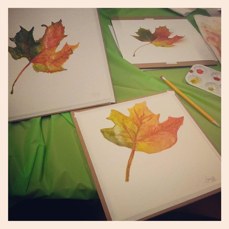 leaf watercolor paintings