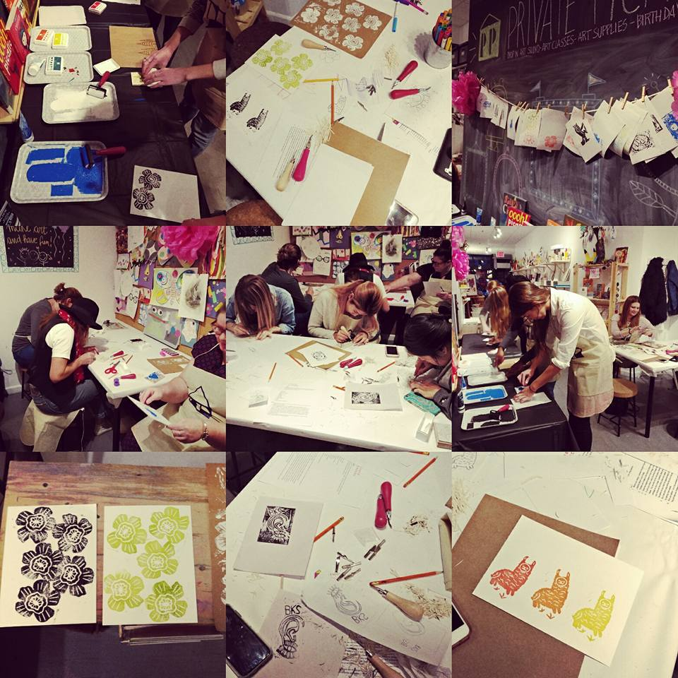 Students in a team building printmaking workshop.