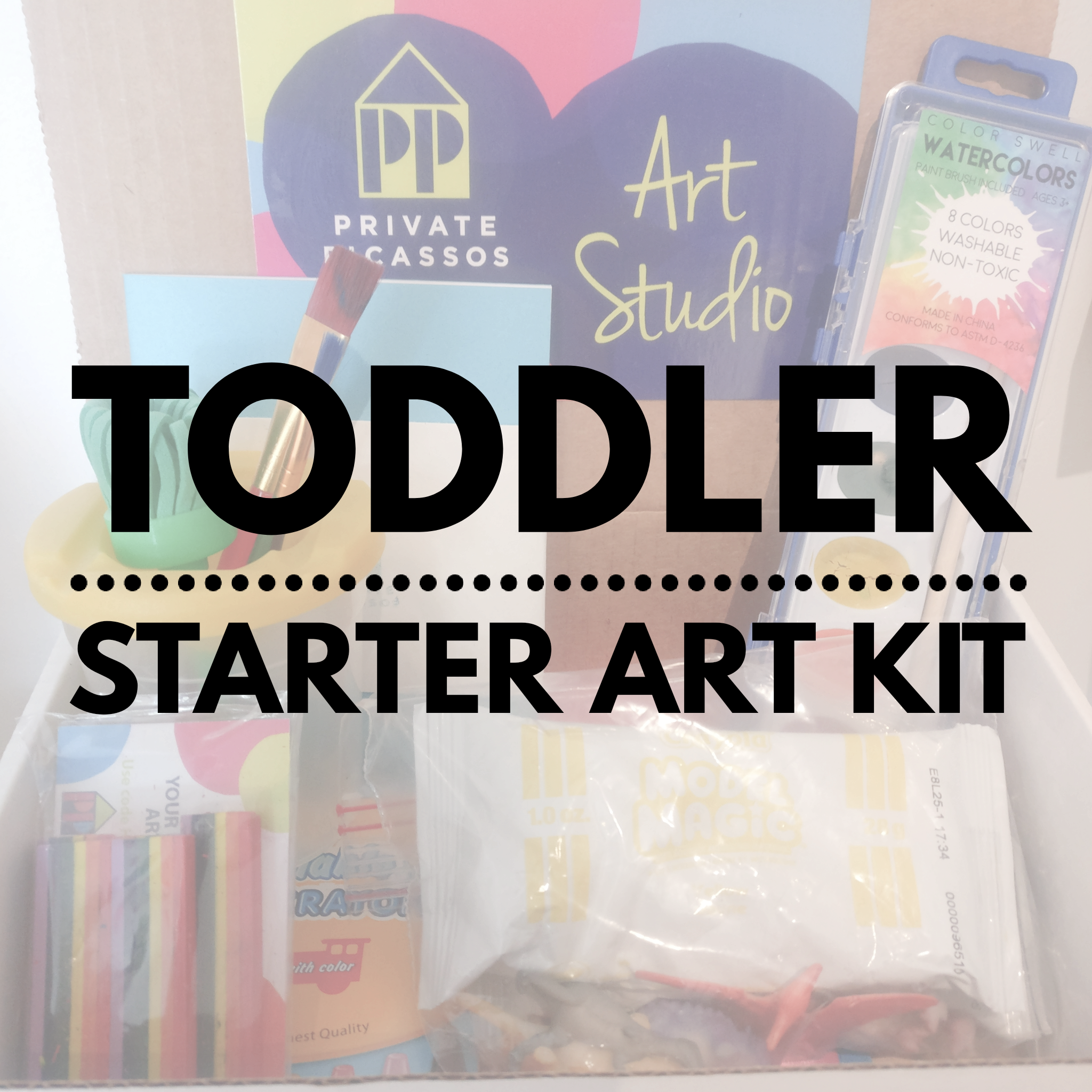 Get your toddler started with their first set of art supplies!  Included in this kit are the following: no spill paint cup, two paint brushes or rubber paint scraper, foam textured paint brush, washable watercolor set with paint brush, rainbow crayons, washable chubby crayons (or foam rollers), Private Picassos' Fossil Making Kit, which includes two packs of Model Magic Clay and dinosaur figurines, Private Picassos' sketchbook and a Private Picassos' art smock.
