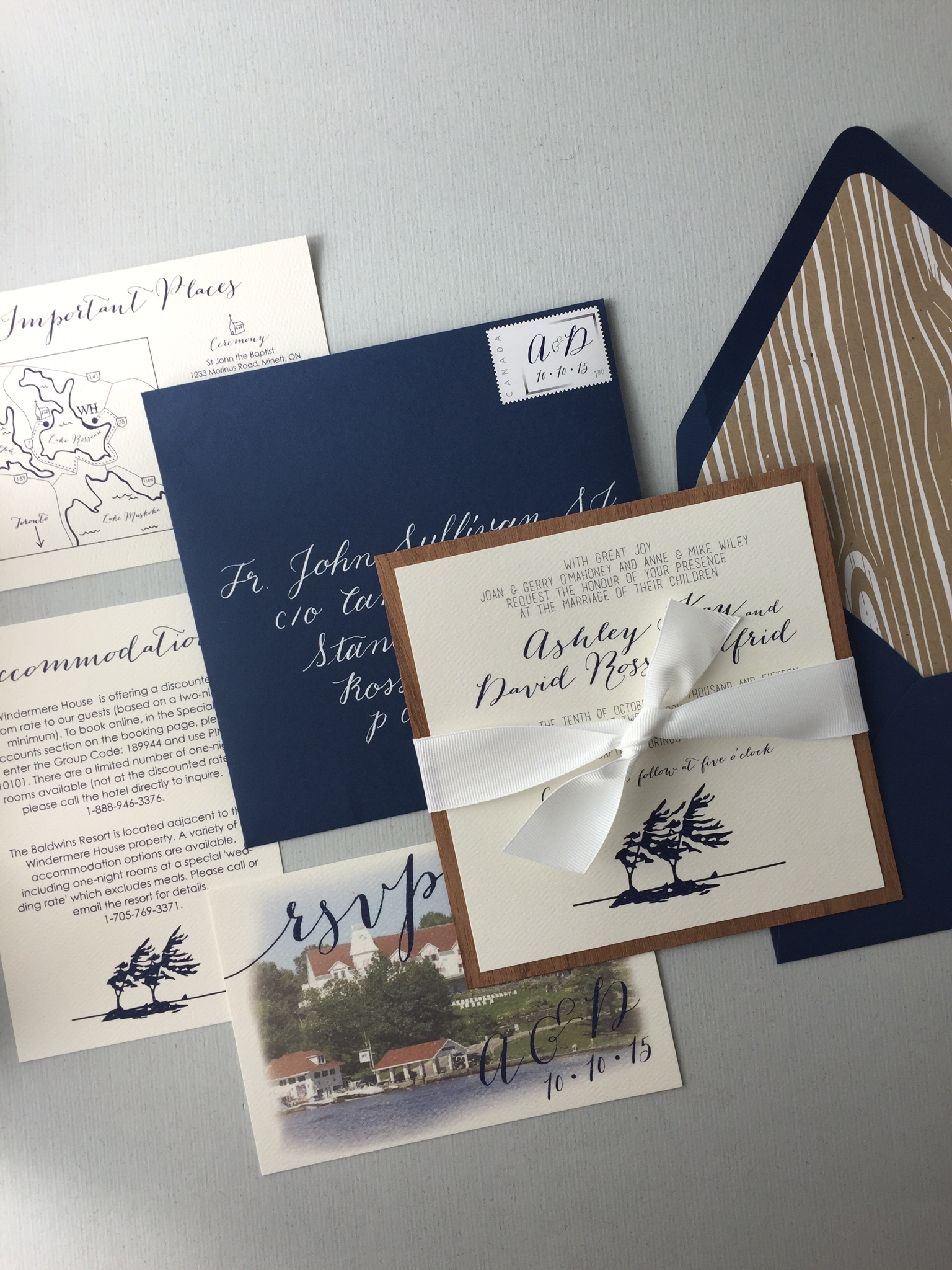 Ashley & Dave's custom wedding invitations