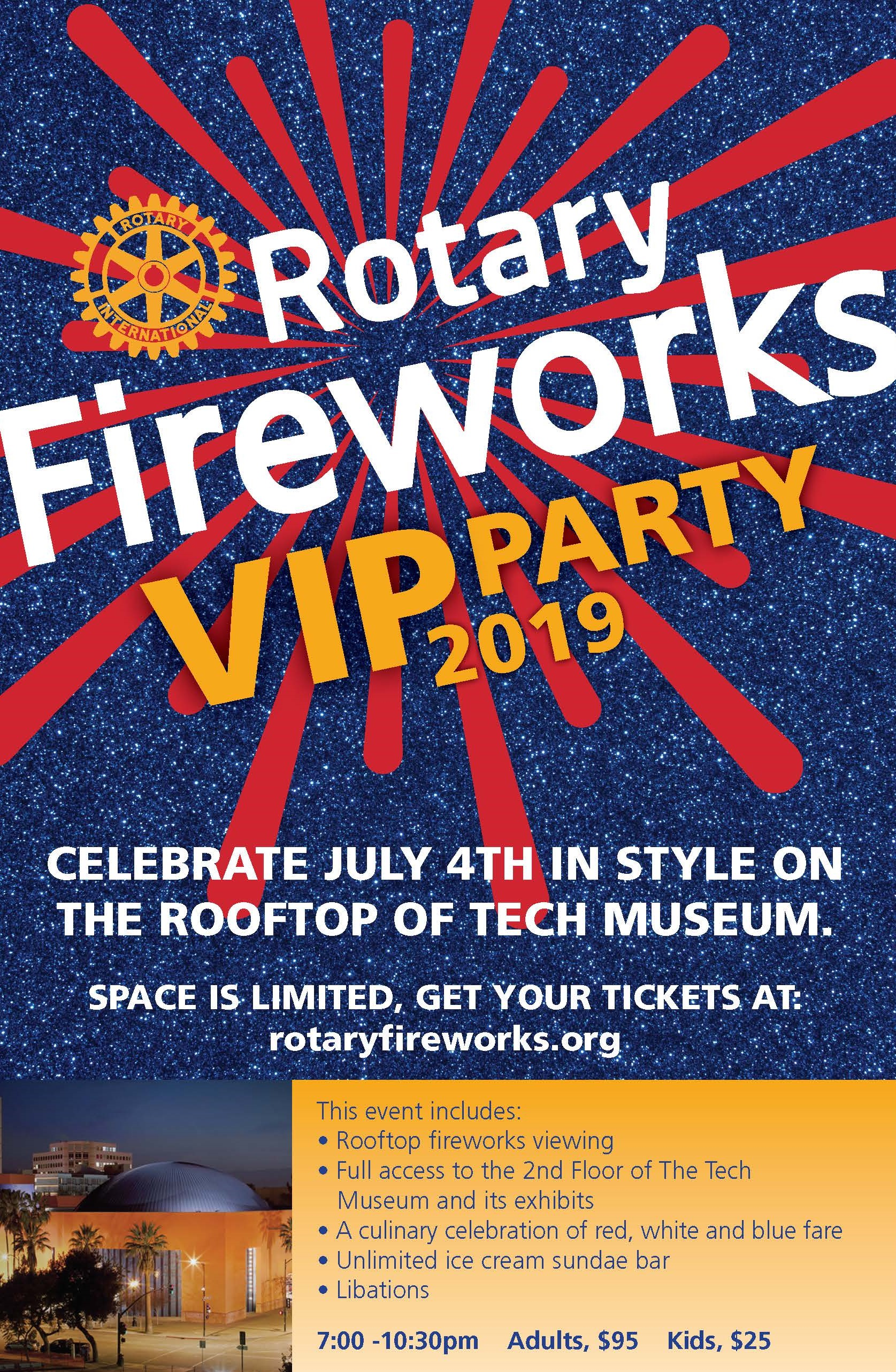 ExclusiveVIP Event - Are you a Sponsor, Rotarian, Guest of a Rotarian, or a Dignitary? If so, join us for a spectacular rooftop celebration hosted at the Tech Center of Innovation.