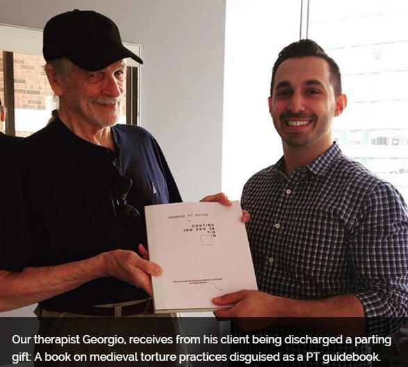 Georgio and patient celebrating total knee replacement physical therapy sessions in the upper west side, Lincoln Square office