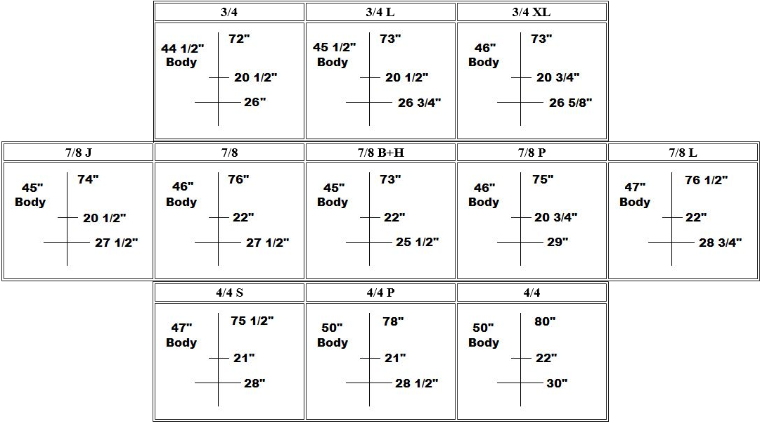 Bass bag sizing chart