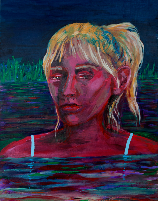 Night Swimmer,  acrylic on panel, 8 x 10 inches, 2016
