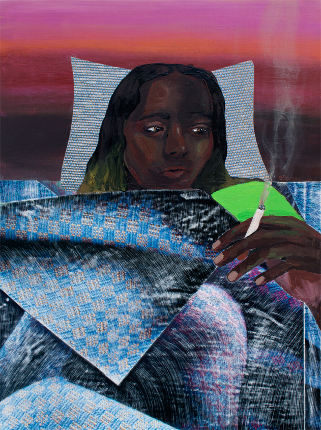 Smoking in Bed,  acrylic and collage on panel, 16 x 12 inches, 2016