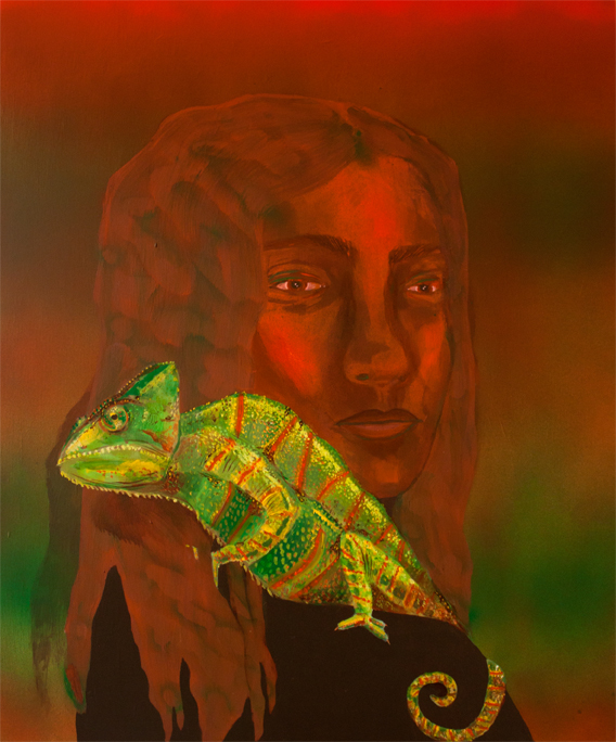Chameleon,  acrylic and spray paint on panel, 24 x 20 inches, 2017