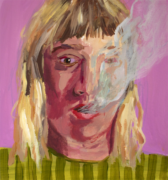 Self Portrait as Smoker , acrylic on paper, 6 x 6 inches, 2016