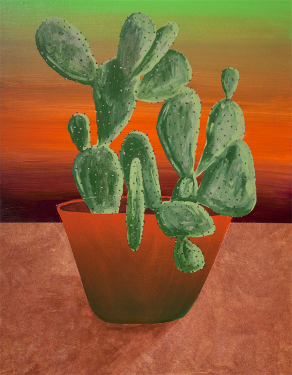 Prickly Pear for Rachel,  acrylic and collage on panel, 14 x 11 inches, 2016