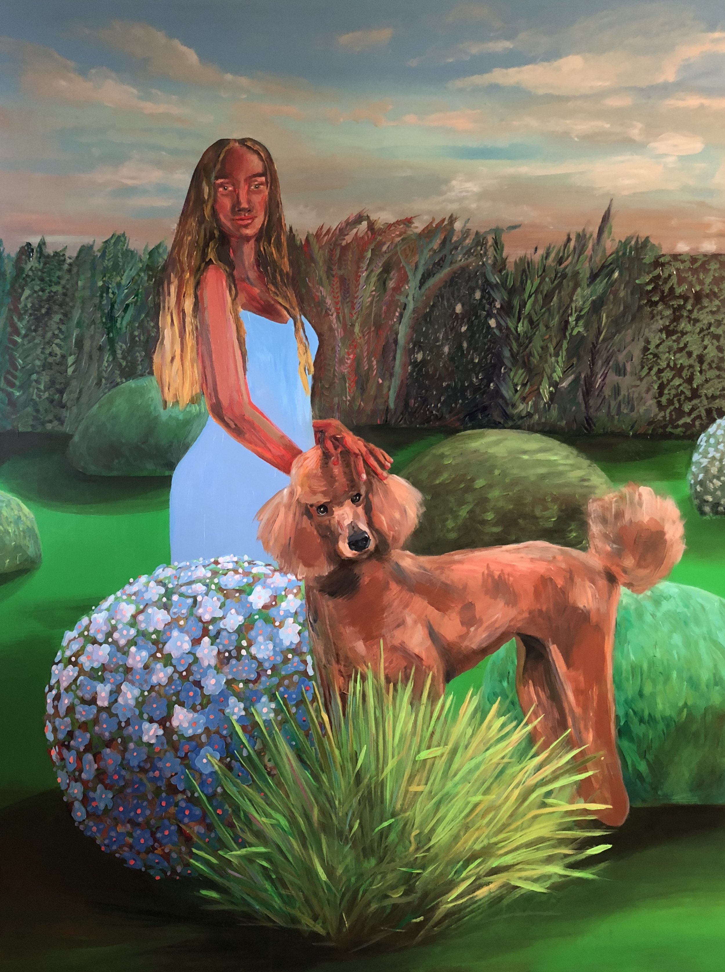 Petting the Poodle in the Garden, acrylic on panel, 40 x 48 inches, 2018