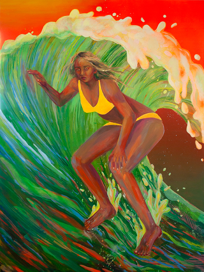 Jesus Lady Surfer , acrylic and spray paint on panel, 48 x 36 inches, 2017