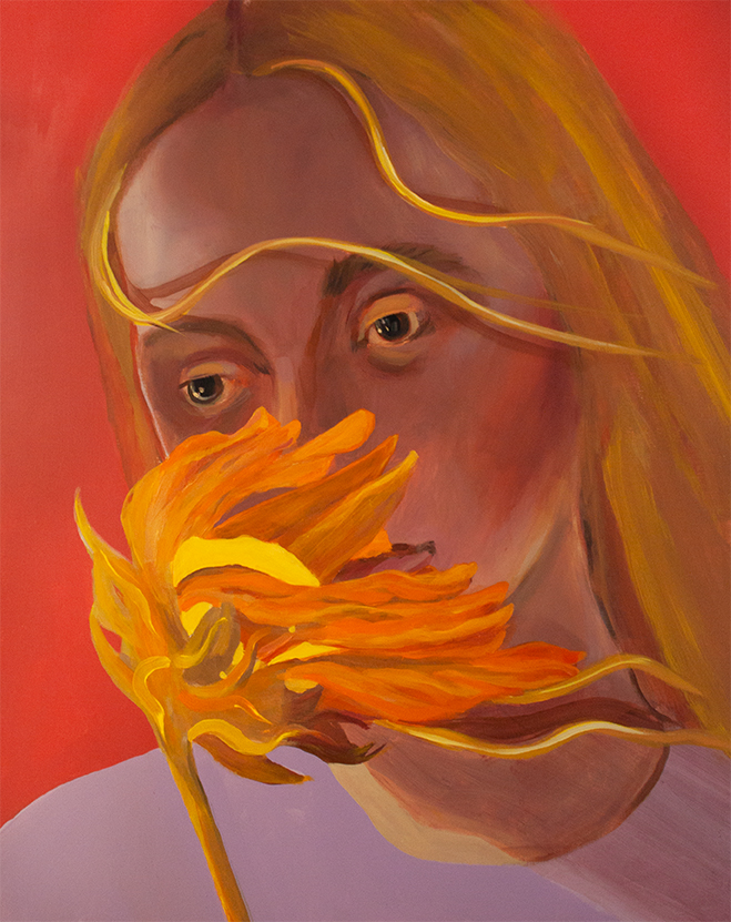 Sunflower Sniff, acrylic on panel, 30 x 24 inches, 2019