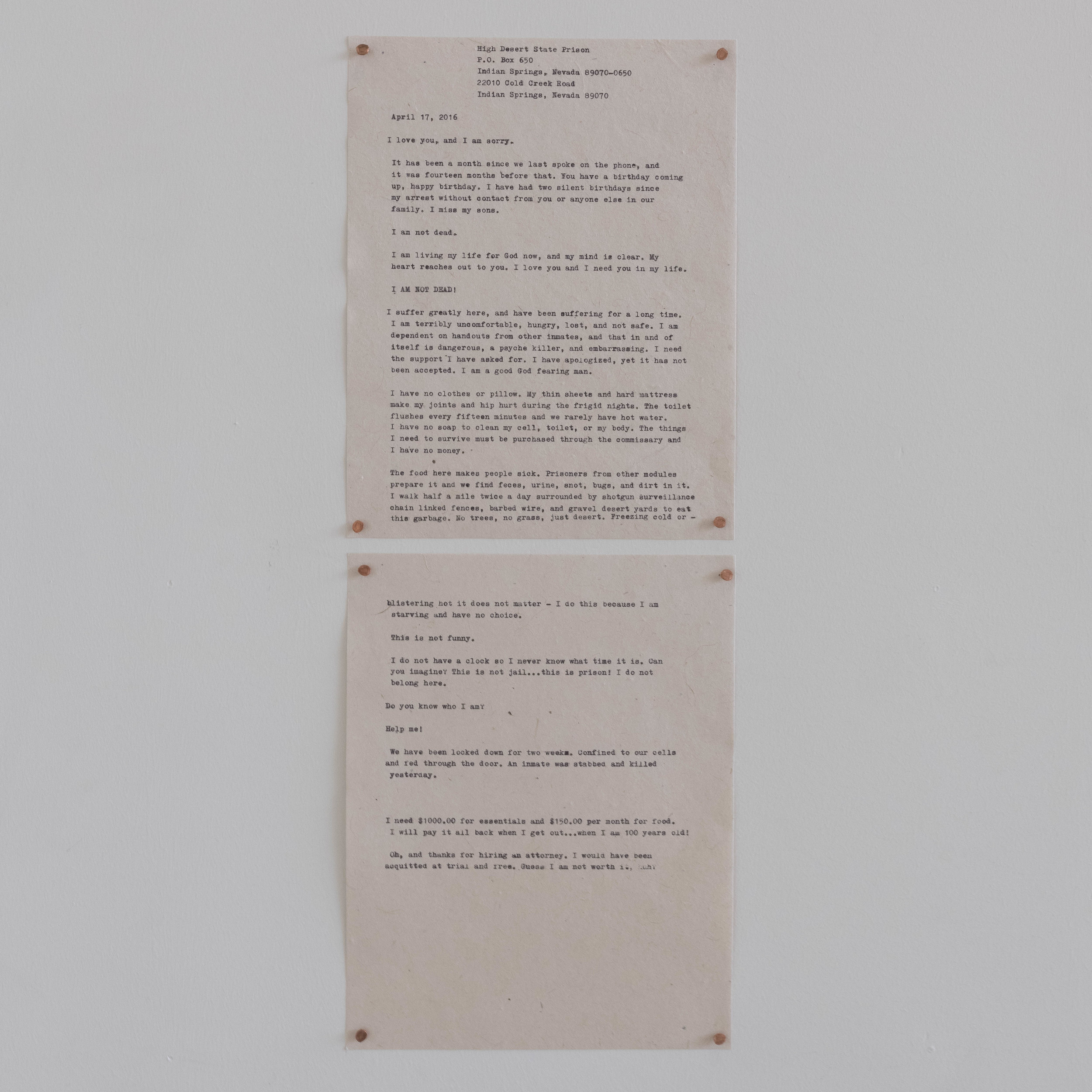"Family Letter #1, 8.5""x11"" (2), Transcribed letter on Flowerseed Paper using Family Typewriter, 2019"