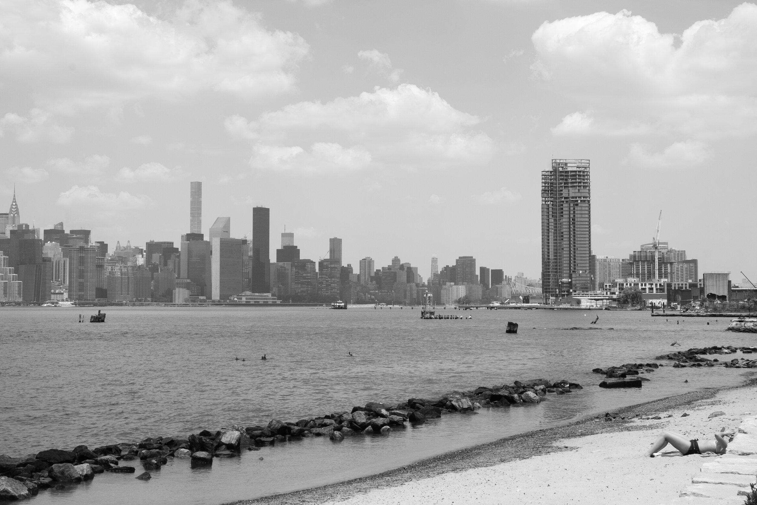 """Hudson River Beach, 16""""x21"""", Gelatin Silver Print, 2016"""