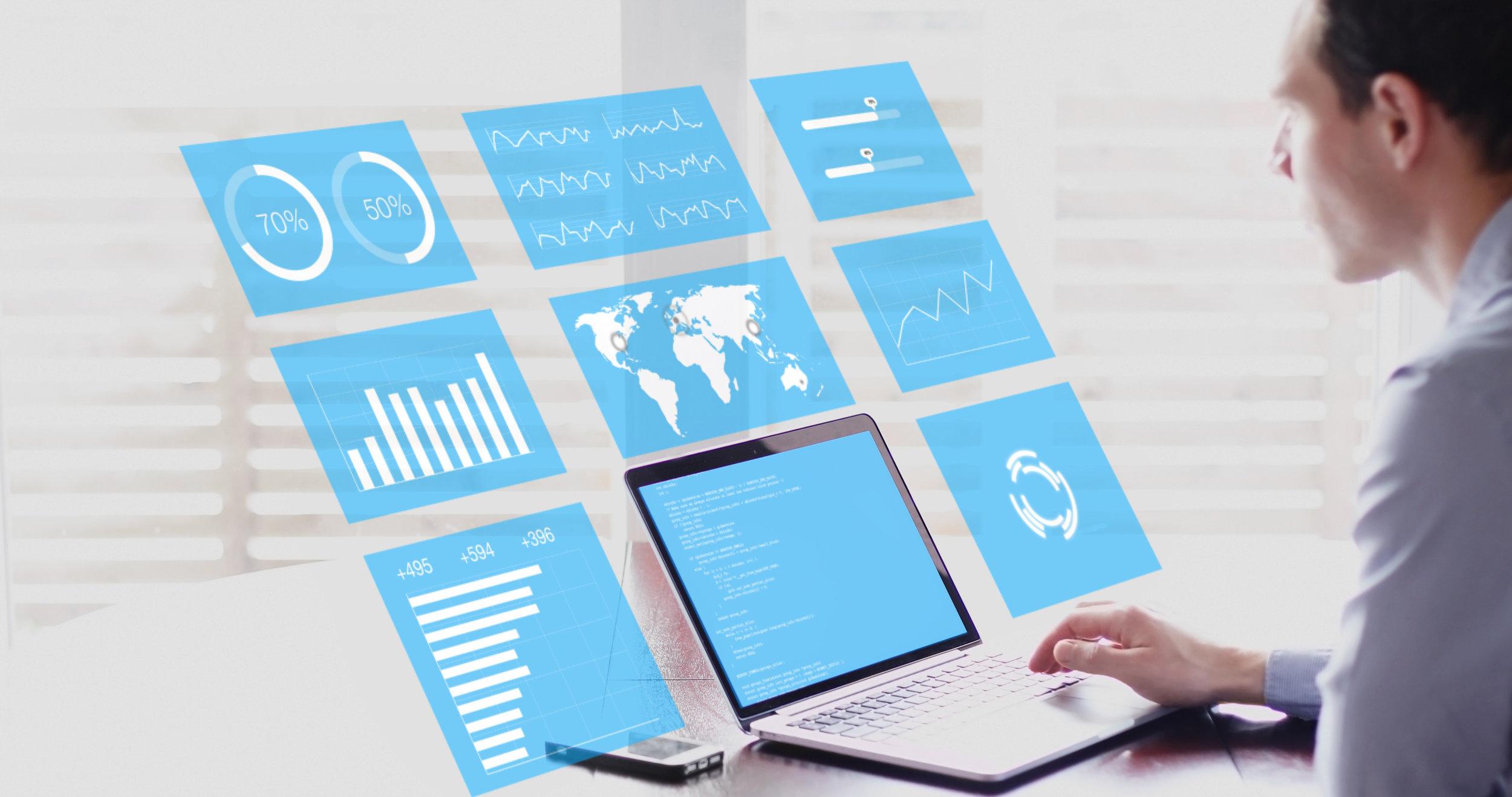 Key Performance Indicators (KPI) on business dashboard, businessman analyzing metrics