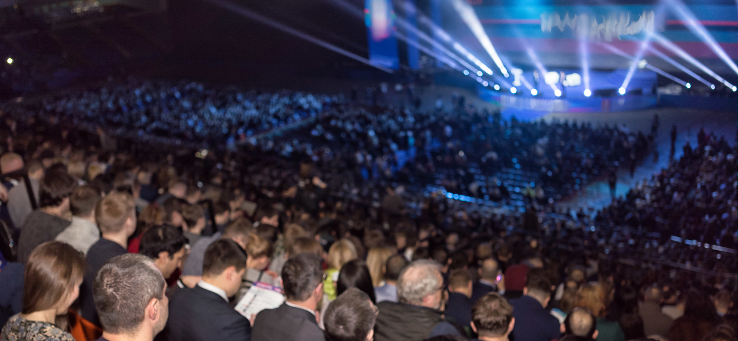 Copy of rear view of the audience at the business conference