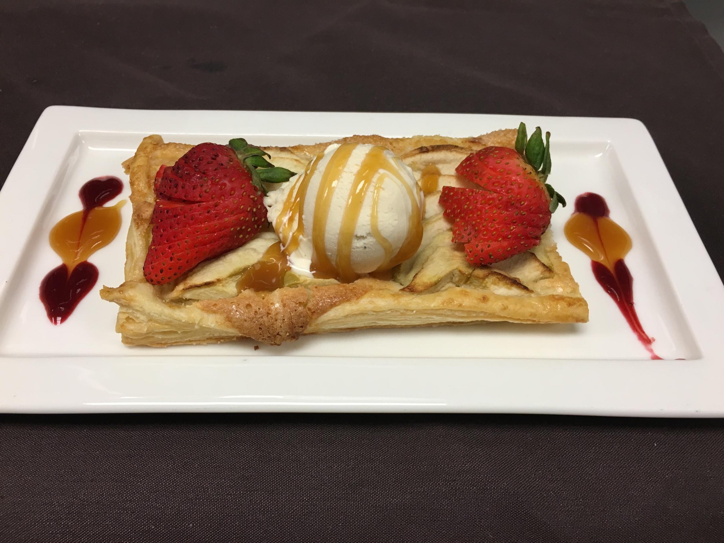 Filo Apple Tart with caramel sauce and vanilla ice cream