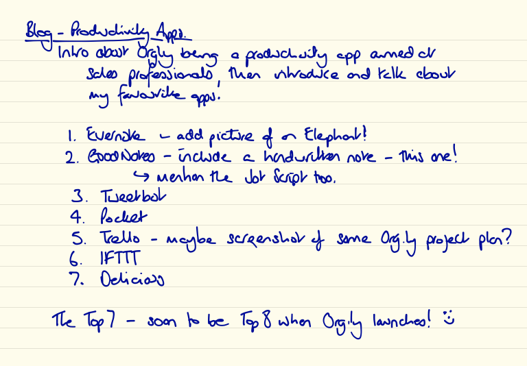 My handwritten notes about this blog post written in GoodNotes 4