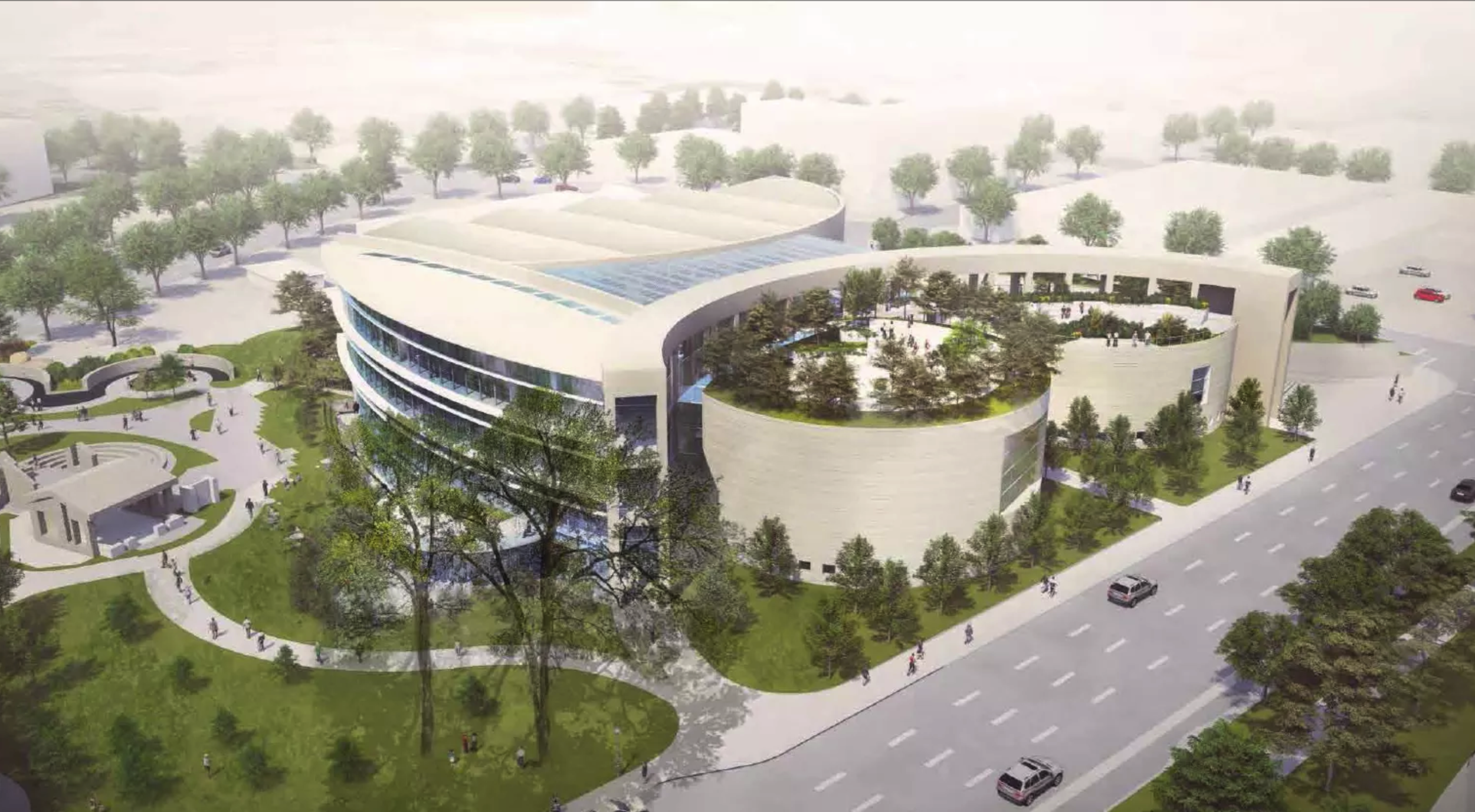 Rendering of the new main library architecture design