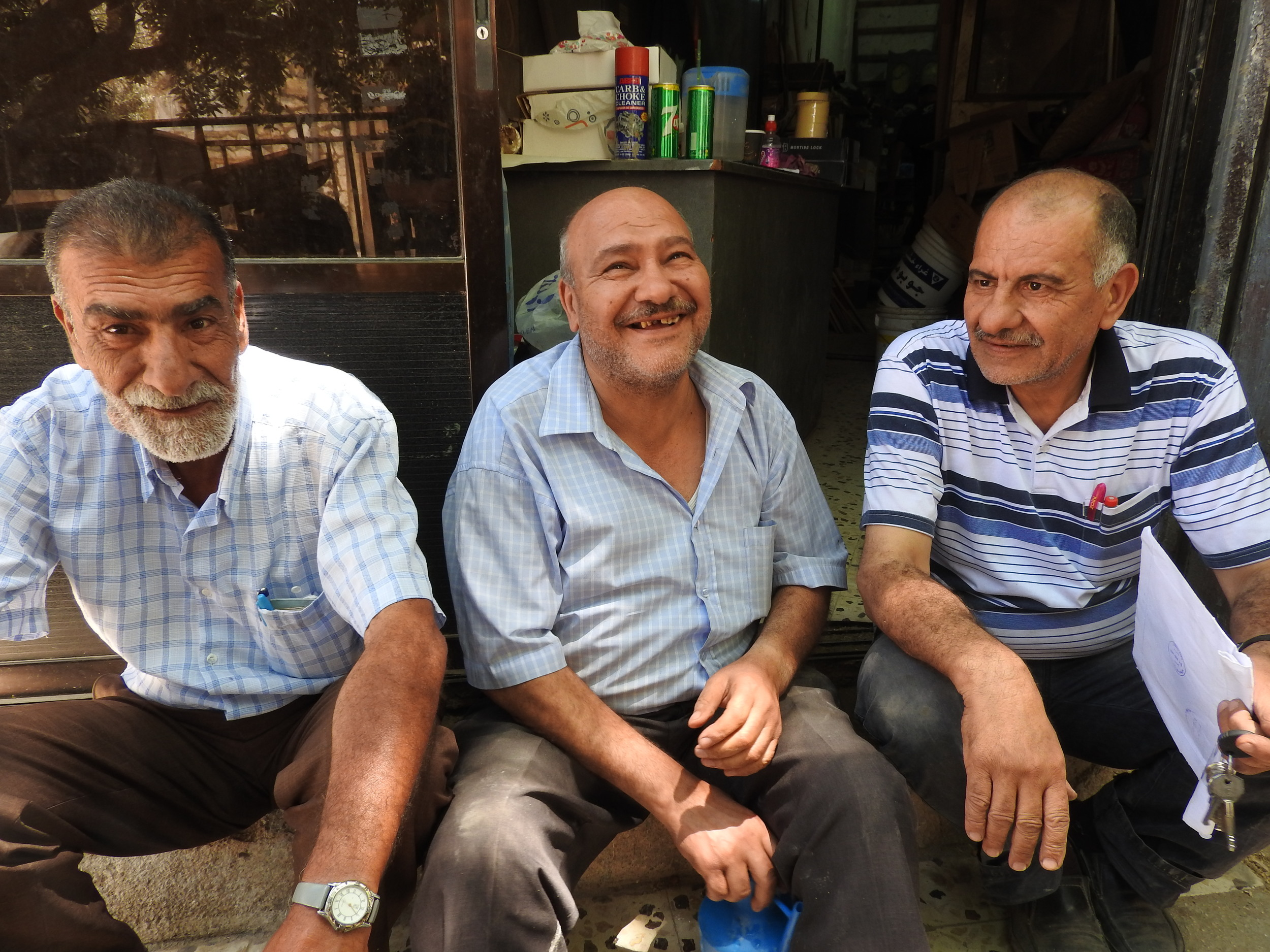 Palestinian brothers Saleme Ata Ahmed Idris, Ziyad Adrees and Taisier Ata Mohammad Idries. Photograph by Andrew Dodd