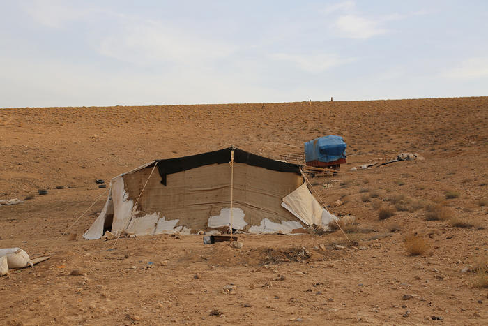 Traditional Bedouin tents are made with goat-hair. This tent is a two-room variety.