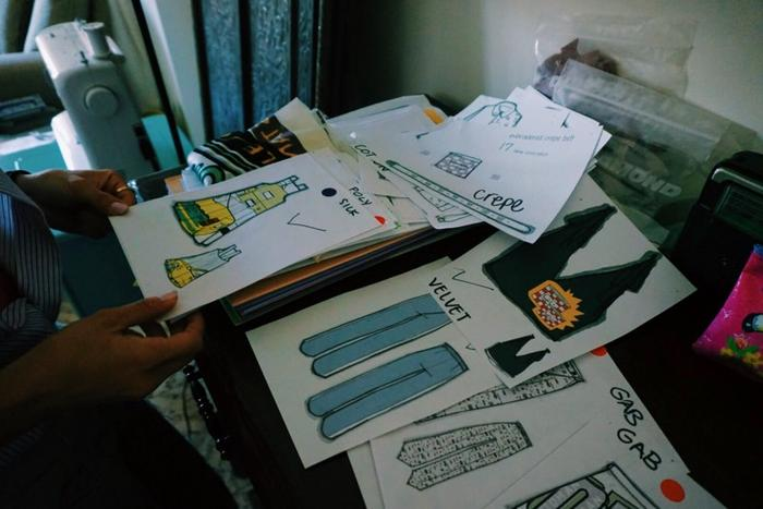 Jordanian designer Tania Haddad calls on the help of Syrian refugees to bring her drawings to life in garment form.