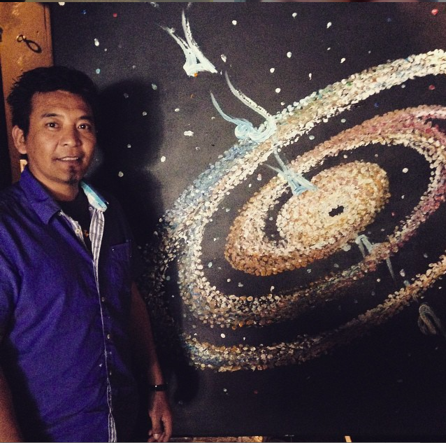 Tara Lobsang and his painting, auctioned during the concertfor $4500