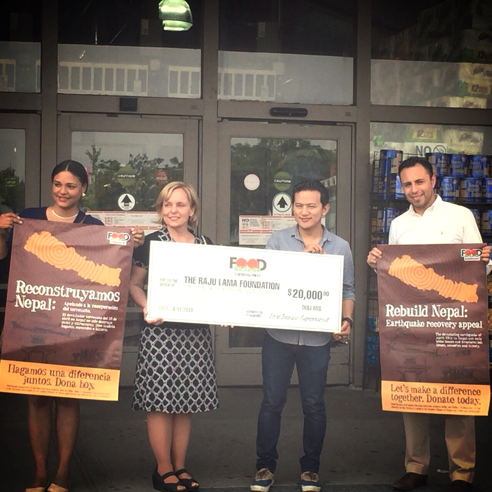 A generous donation to the Raju Lama Foundation from Food Bazaar Supermarket