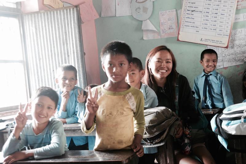 Tsechu Dolma with children in Nepal