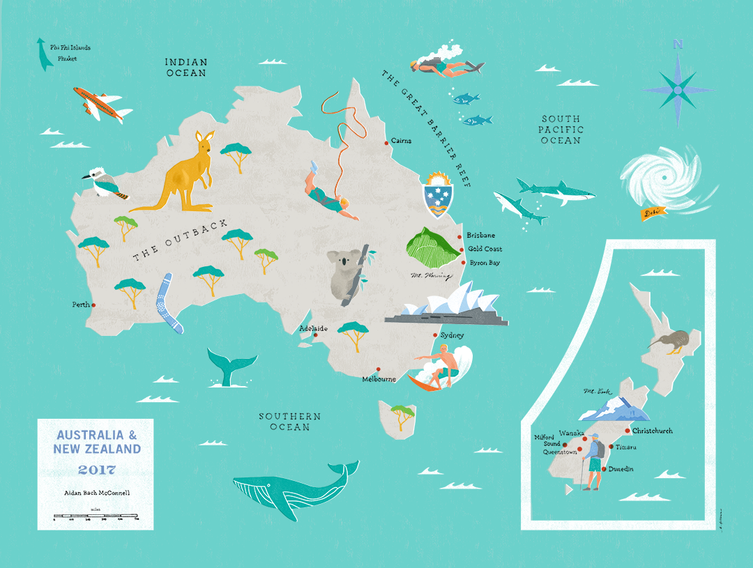 Aussie New Zealand map — Kara Fellows Illustration & Design