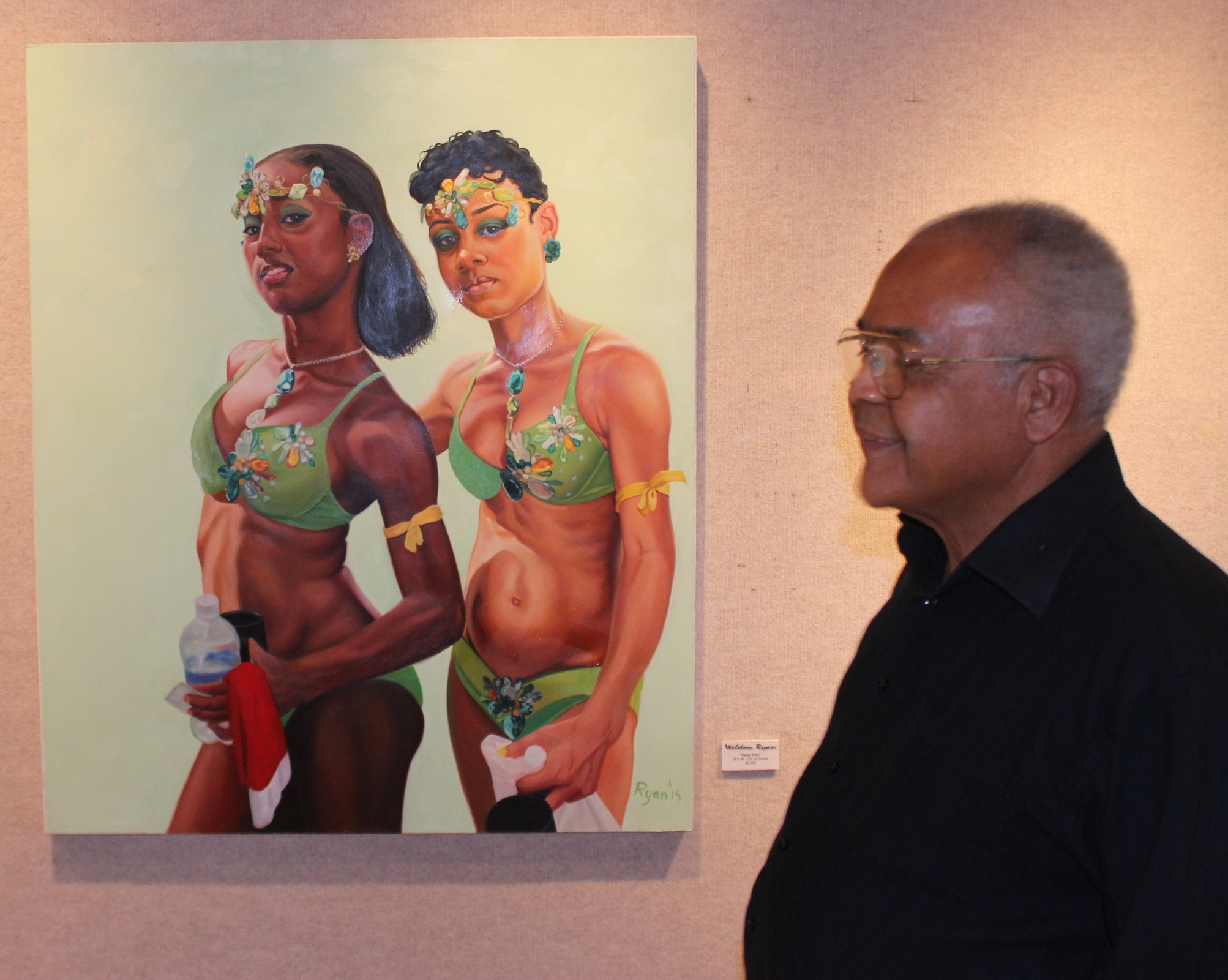 """Howard Hardie and the """"Sassie Duo"""" 36x48 Oil on  Board."""