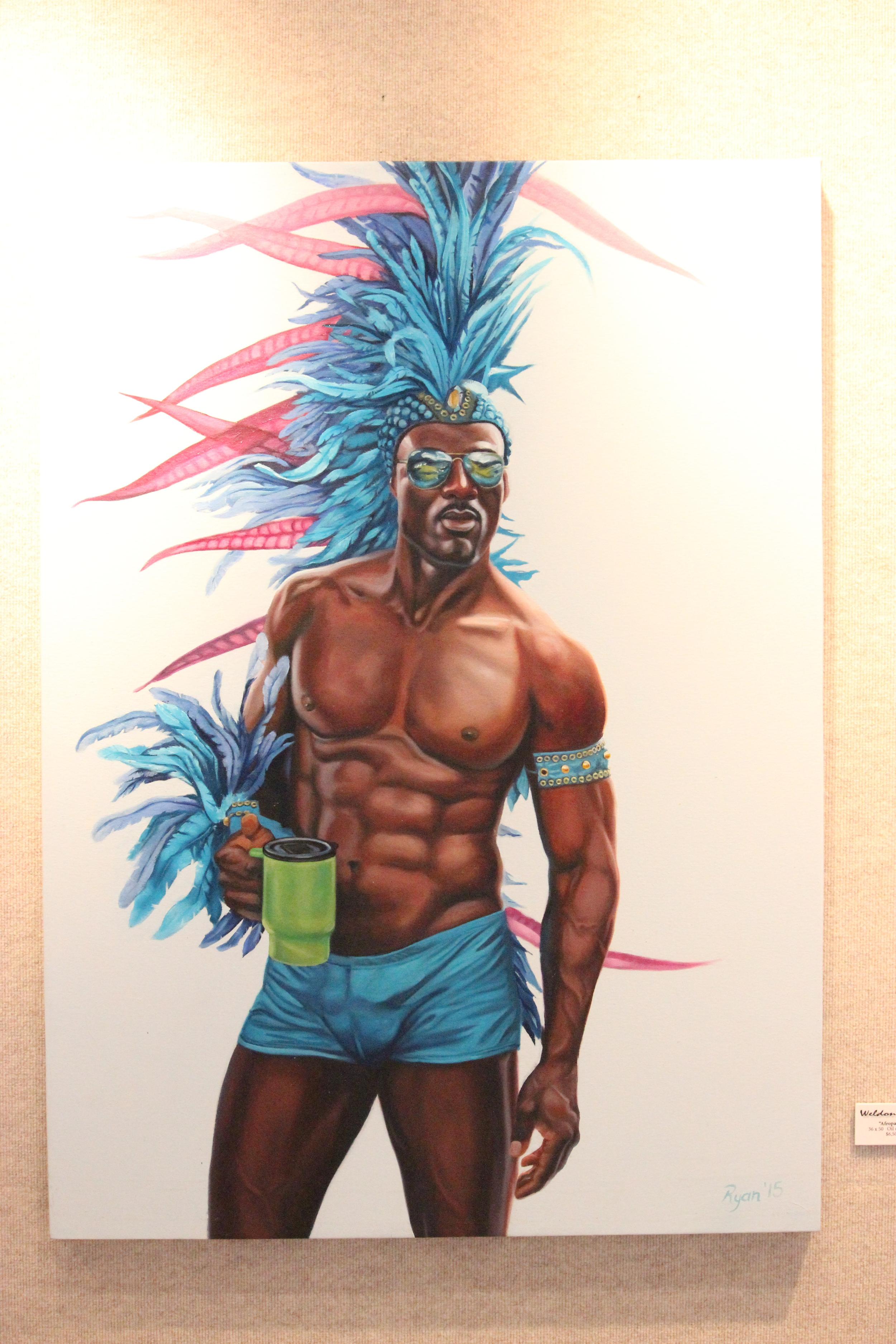 """""""Afropavo"""" 36x50 oil on canvas drove the women crazy."""