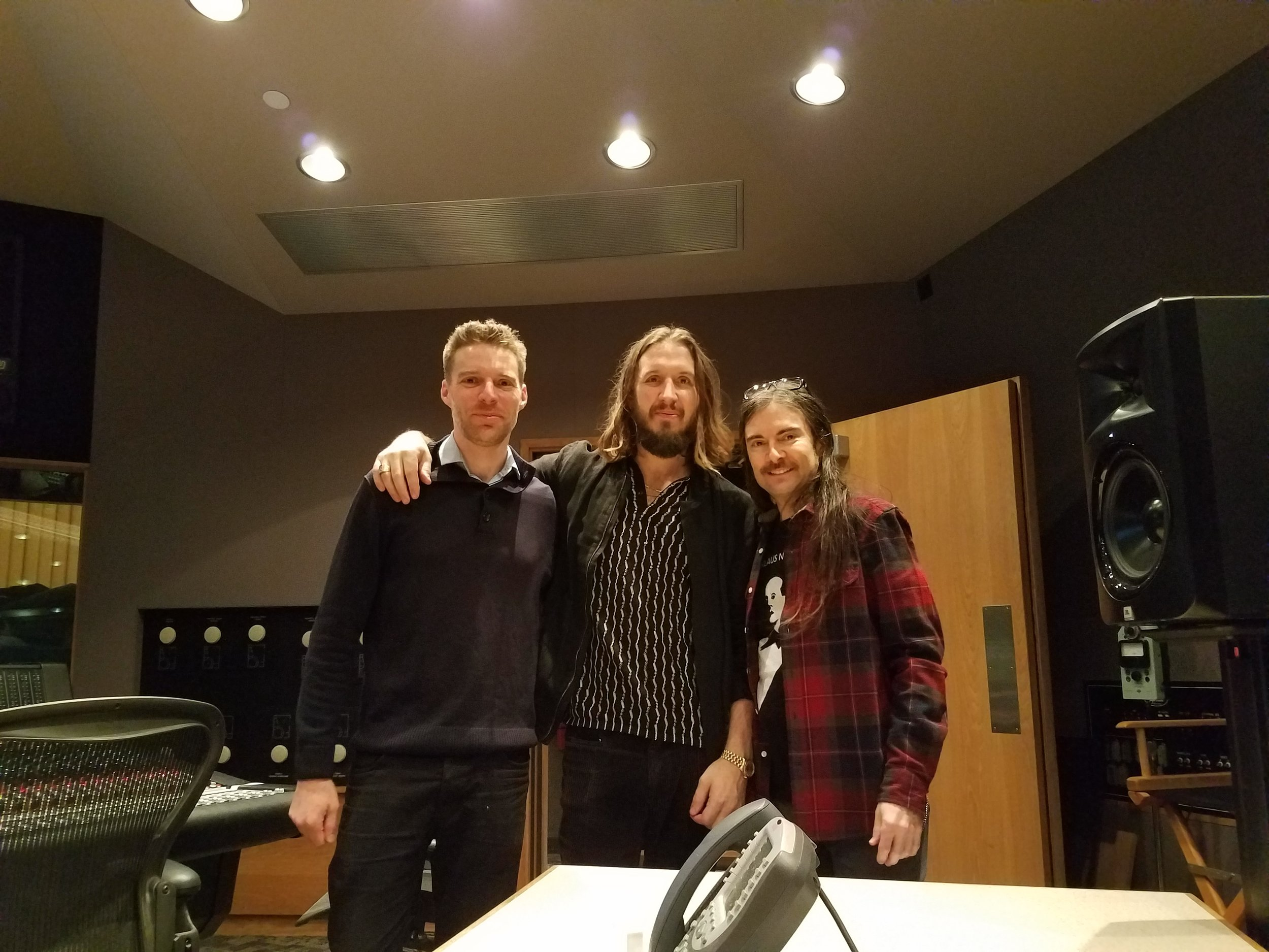 Above : Steve Aho (L); Emile Haynie (C); Roger Joseph Manning Jr. (R) recording in the studio for The Greatest Showman