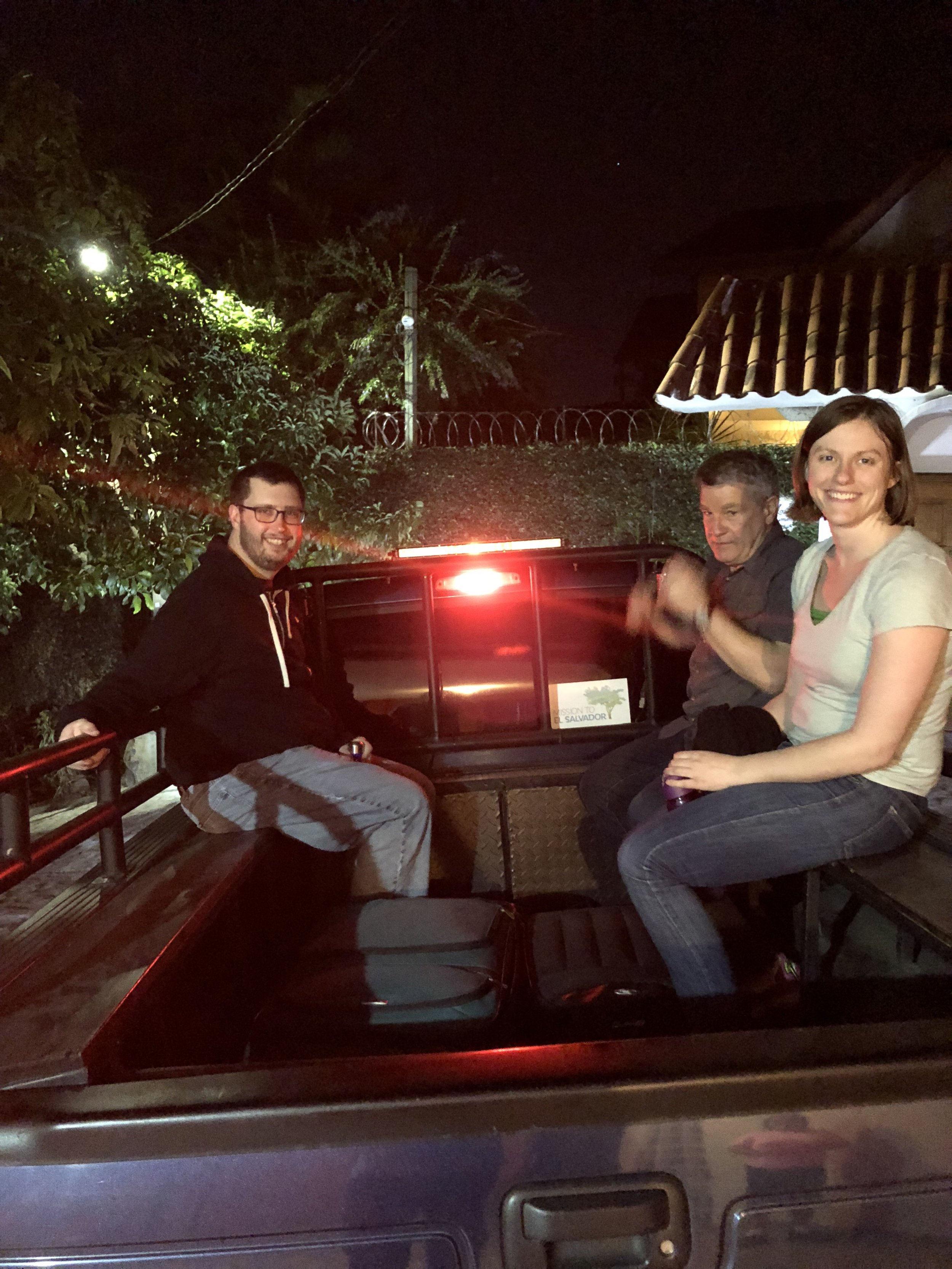 Sitting in the back of Jon's pickup truck, before going to the MTES offices on Thursday night to package and hand out meals.