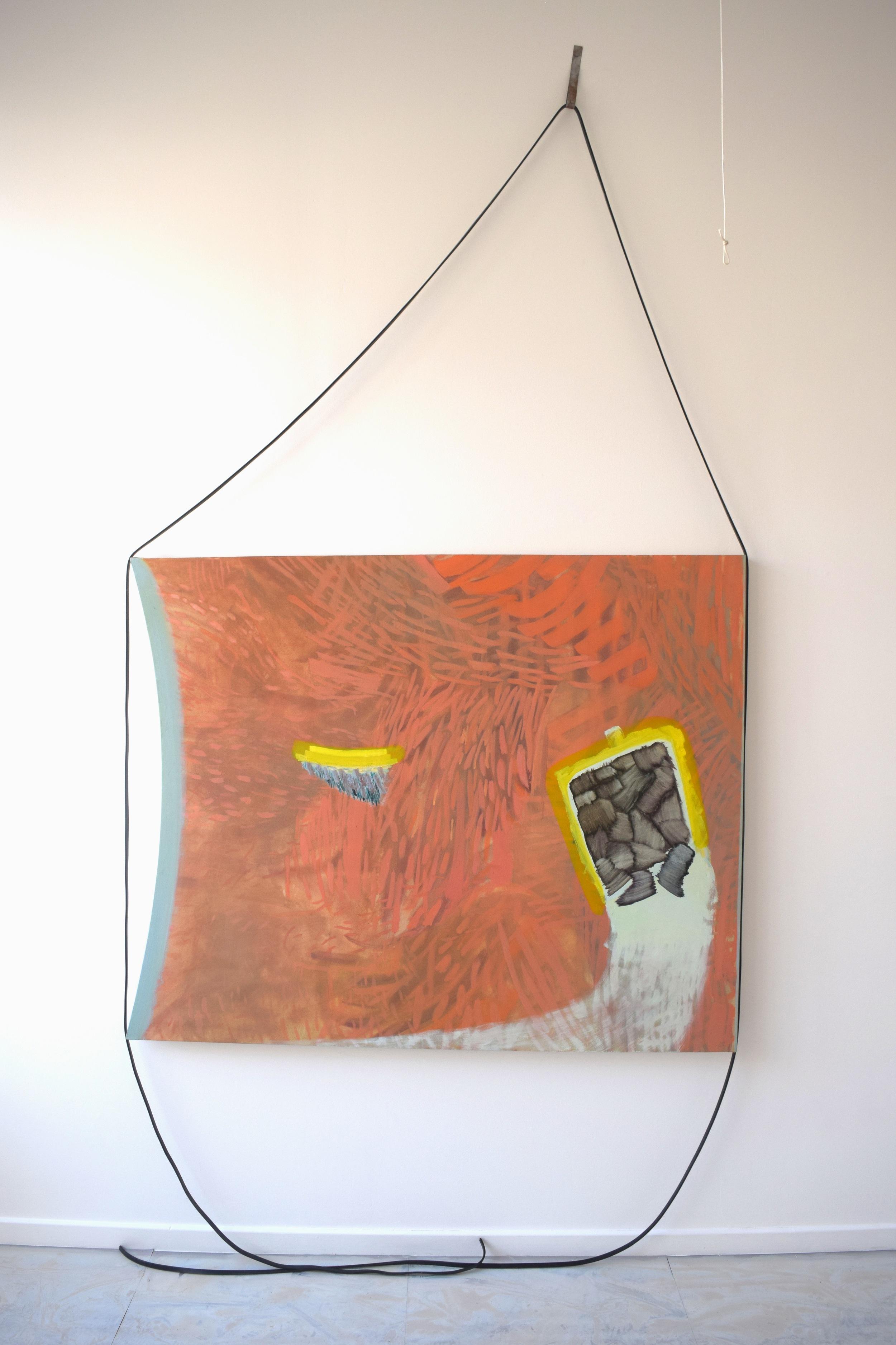 Tides - Oil on Canvas, rubber belt, metal clip  300x150cm (120x150cm)