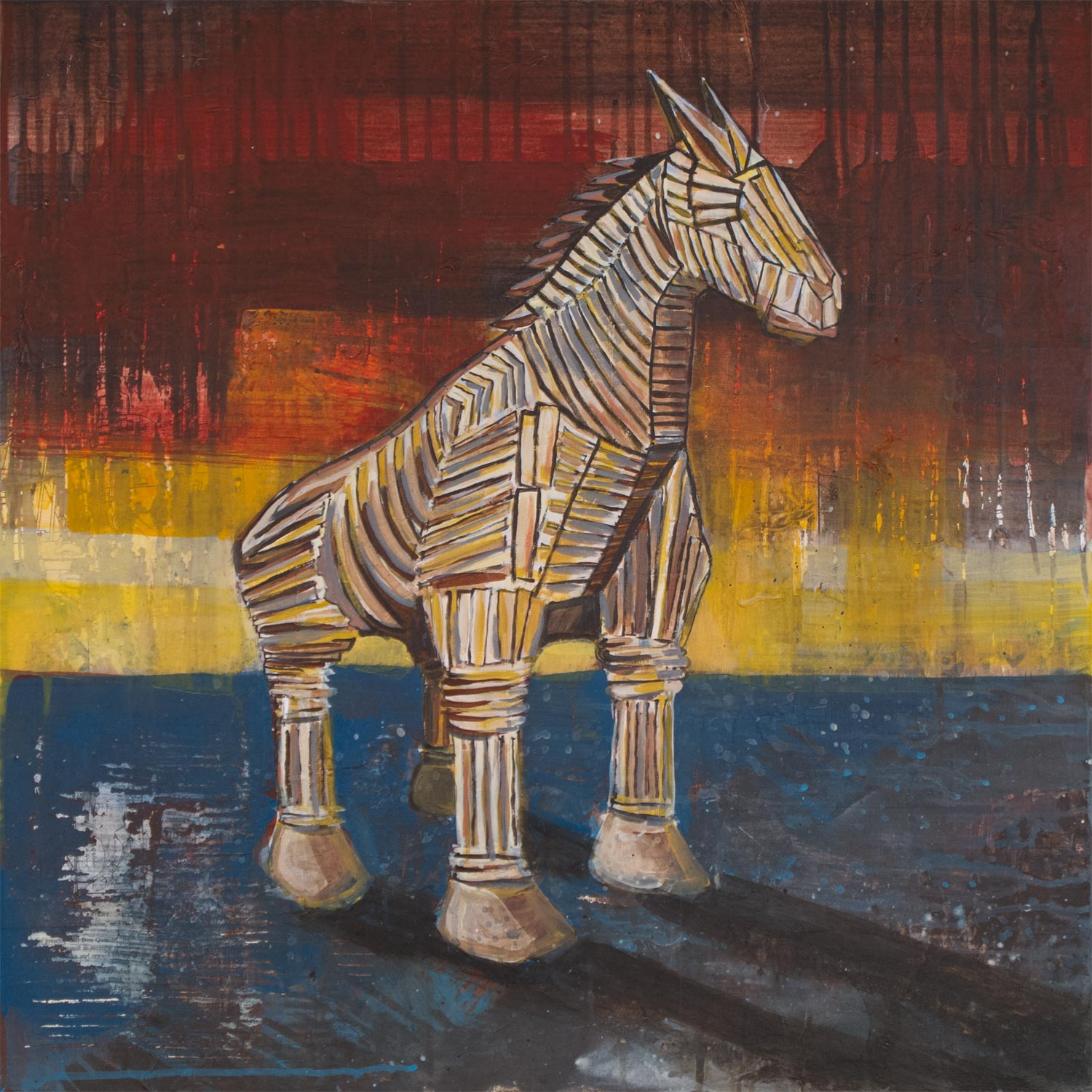 "Trojan Horse, Mixed Media on Wood, 24""x24"""