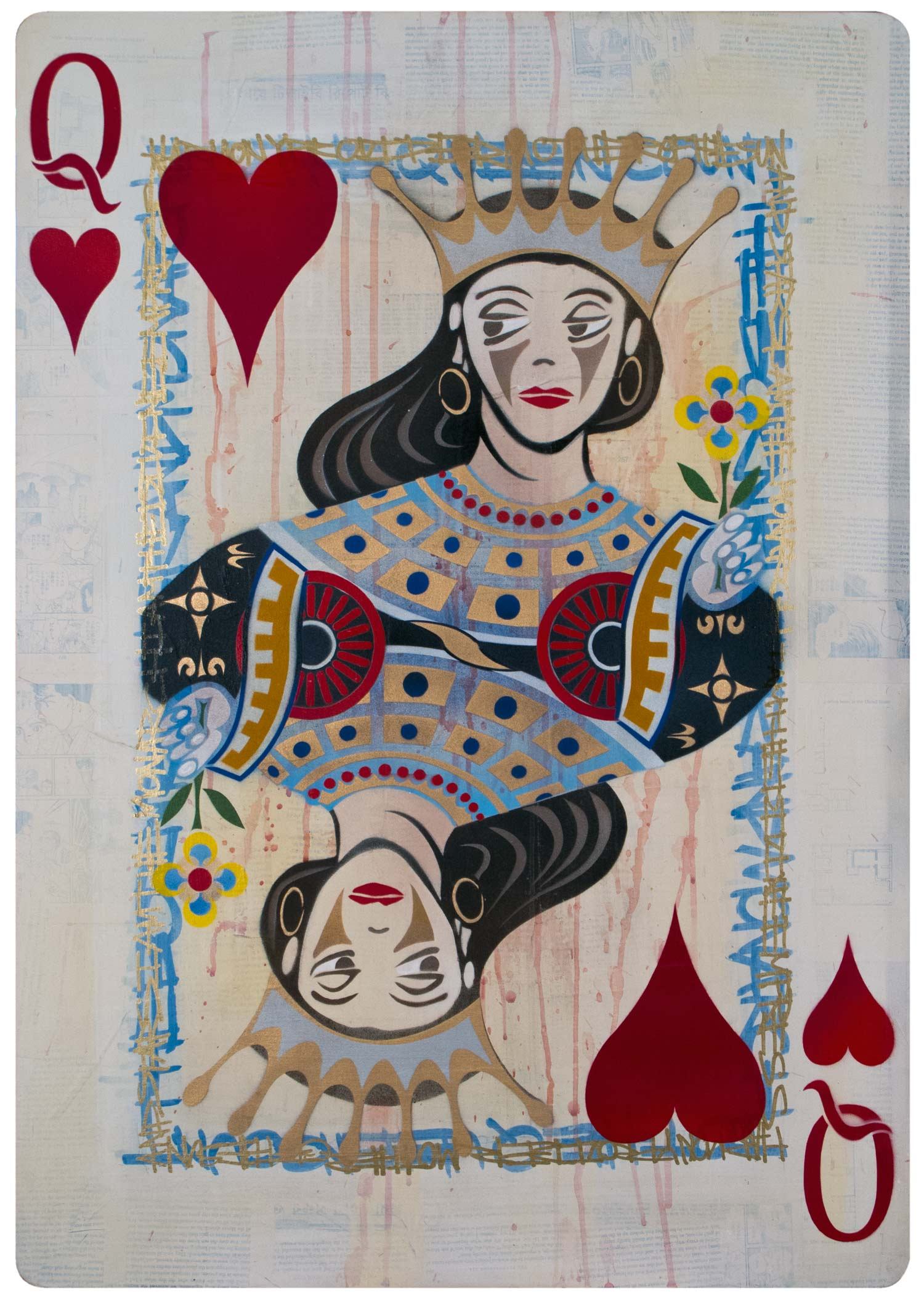 "Queen of Hearts, Mixed Media on Wood, 24""x34"""